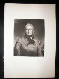 After Thomas Lawrence 1844 Folio Mezzotint Portrait. Lieut-Gen John Moore